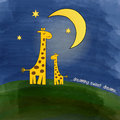 Mother giraffe and baby giraffe at night illustration Royalty Free Stock Images