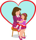 Mother and girl vector illustration of a cute sitting on her mothers lap a big heart shape in the background eps Royalty Free Stock Image