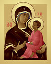 Mother of god and jesus christ icon the a virgin mary holding the child eastern orthodox in vector theotokos hodegetria Royalty Free Stock Photos