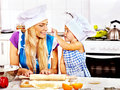 Mother and grandchild baking cookies granddaughter Royalty Free Stock Photography