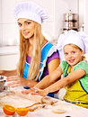 Mother and grandchild baking cookies granddaughter Stock Photography
