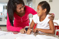 Mother helping daughter with homework in kitchen smiling to each other Royalty Free Stock Photography