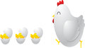 Mother hen with its baby chicks cartoon Royalty Free Stock Images
