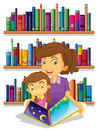 A mother with her daughter reading a book illustration of on white background Stock Photos