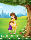 A mother and her daughter under the tree illustration of Stock Photo