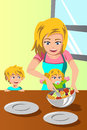 Mother and her kids preparing salad a vector illustration of happy together Stock Images
