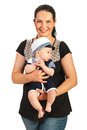 Mother hold baby in sailor suit Royalty Free Stock Photo