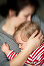 Mother hold sleeping baby Royalty Free Stock Photo