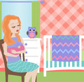 Mother holding baby illustration of a woman sitting in babies room comforting Royalty Free Stock Photo