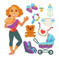 Mother holding baby near newborn things set on white