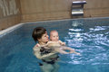 Mother holding child in pool Stock Photography