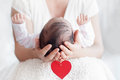 Mother holding head of her newborn baby in hands. Happy family c Royalty Free Stock Photo