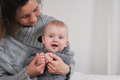 Mother holding infant boy Royalty Free Stock Photo