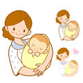 The mother holding newborn infant marriage and parenting charac character design series Royalty Free Stock Photos