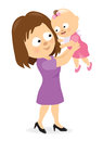 Mother holding up her baby girl vector illustration of a child Royalty Free Stock Photos