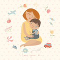 Mother hugging her child,cute pattern