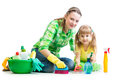 Mother and kid cleaning room Royalty Free Stock Photo