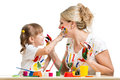 Mother and kid paint together Royalty Free Stock Photo