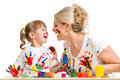 Mother with kid painting and have fun pastime Royalty Free Stock Photo