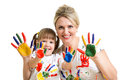 Mother and kid show painted palms Royalty Free Stock Photo