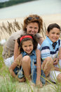 Mother and kids outdoors Royalty Free Stock Photos