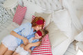 Mother kiss her little daughter before sleep Royalty Free Stock Photo