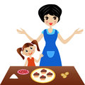 Mother with little daughter prepare delicious cake vector illustration Stock Photo