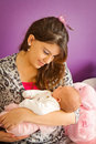 Mother loving her baby a young mother's special bonding moment with newborn Royalty Free Stock Photos