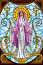 Mother mary easy to edit vector illustration of in stained glass painting Stock Image