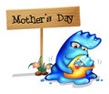 A mother monster with her daughter near a signboard illustration of on white background Royalty Free Stock Photography
