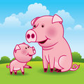 Mother Pig and Piglet Stock Photography