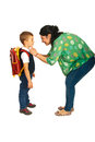 Mother prepare boy for school isolated on white background Royalty Free Stock Images