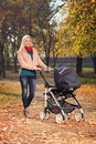 Mother pushing a baby stroller in a park in autumn Royalty Free Stock Image