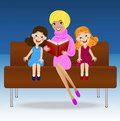 Mother read book two little daughter sitting on sofa vector illustration Royalty Free Stock Photo