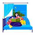 Mother reading bedtime story to kids. Mom sitting in bed with son and daughter hold book Royalty Free Stock Photo