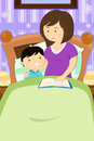 Mother reading a bedtime story vector illustration of to her son Royalty Free Stock Image