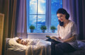 Mother reading a book Royalty Free Stock Photo