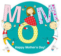Mother s day card children with flowers Stock Photo