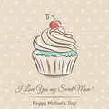 Mother's Day card with cupcake and wishes text, vector Royalty Free Stock Photo
