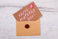 Mother`s Day card on envelope. Royalty Free Stock Photo
