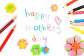 Mother s day card happy mothers made by a child Royalty Free Stock Image