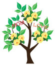 Mother s day card illustration of rose tree for Royalty Free Stock Photos