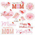 Mother s day clipart with cute birds Stock Photography
