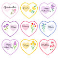 Mother`s day hearts with flowers