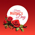 Mother`s Day Illustration with Red Flowers Background.
