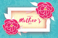 Mother`s Day. Pink Floral Greeting card. Paper cut Peony Flower.Rectangle Frame. Origami Women`s Day. Text. Royalty Free Stock Photo