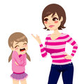 Mother scolding girl illustration of upset young little crying Stock Photography