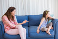 Mother scolding her naughty daughter Royalty Free Stock Photo