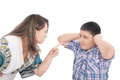 Mother scolding her son Royalty Free Stock Images