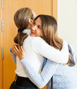 Mother sees off teenage daughter Royalty Free Stock Photo